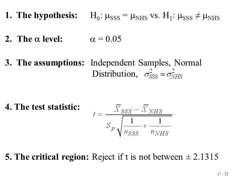 17 - 23 1. The hypothesis: H 0 :  SSS =  NHS vs. H 1 :  SSS ≠  NHS 2.The  level:  = 0.05 3. The assumptions: Independent Samples, Normal Distrib