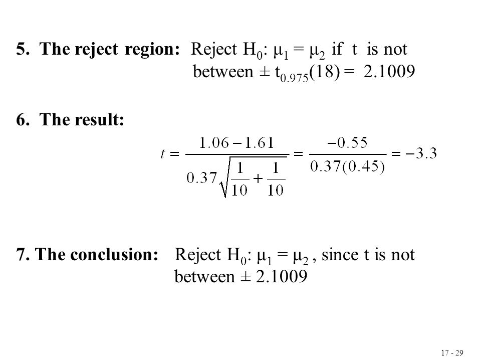 17 - 29 5. The reject region: Reject H 0 : μ 1 = μ 2 if t is not between ± t 0.975 (18) = 2.1009 6. The result: 7. The conclusion: Reject H 0 : μ 1 =