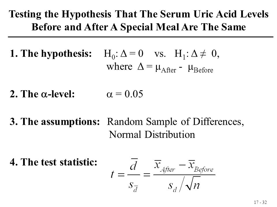 17 - 32 1. The hypothesis: H 0 : Δ = 0 vs. H 1 : Δ ≠ 0, where Δ = μ After - μ Before 2. The  -level:  = 0.05 3. The assumptions: Random Sample of Di