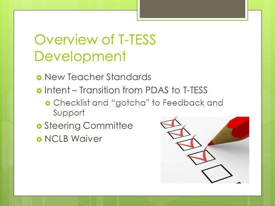 """Overview of T-TESS Development  New Teacher Standards  Intent – Transition from PDAS to T-TESS  Checklist and """"gotcha"""" to Feedback and Support  St"""