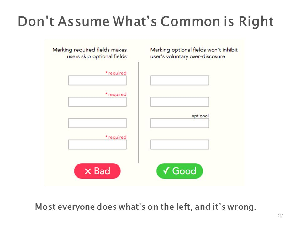27 Don't Assume What's Common is Right Most everyone does what's on the left, and it's wrong.