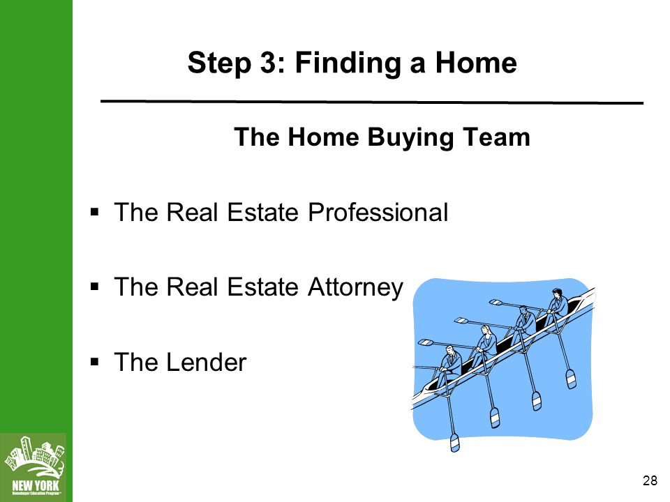 28 Step 3: Finding a Home The Home Buying Team  The Real Estate Professional  The Real Estate Attorney  The Lender