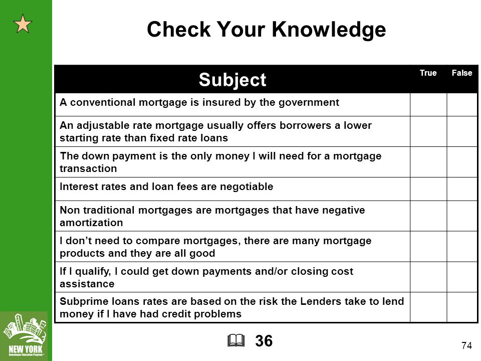 74 Check Your Knowledge Subject TrueFalse A conventional mortgage is insured by the government An adjustable rate mortgage usually offers borrowers a lower starting rate than fixed rate loans The down payment is the only money I will need for a mortgage transaction Interest rates and loan fees are negotiable Non traditional mortgages are mortgages that have negative amortization I don't need to compare mortgages, there are many mortgage products and they are all good If I qualify, I could get down payments and/or closing cost assistance Subprime loans rates are based on the risk the Lenders take to lend money if I have had credit problems  36