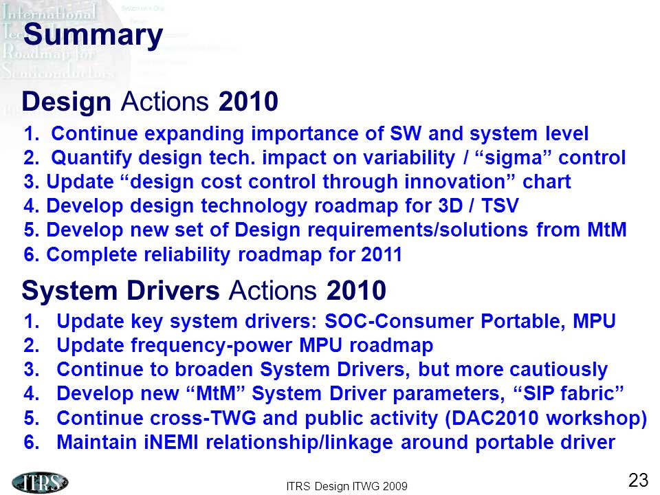 ITRS Design ITWG 2009 23 1.Update key system drivers: SOC-Consumer Portable, MPU 2.Update frequency-power MPU roadmap 3.Continue to broaden System Drivers, but more cautiously 4.Develop new MtM System Driver parameters, SIP fabric 5.Continue cross-TWG and public activity (DAC2010 workshop) 6.Maintain iNEMI relationship/linkage around portable driver Summary 1.Continue expanding importance of SW and system level 2.Quantify design tech.
