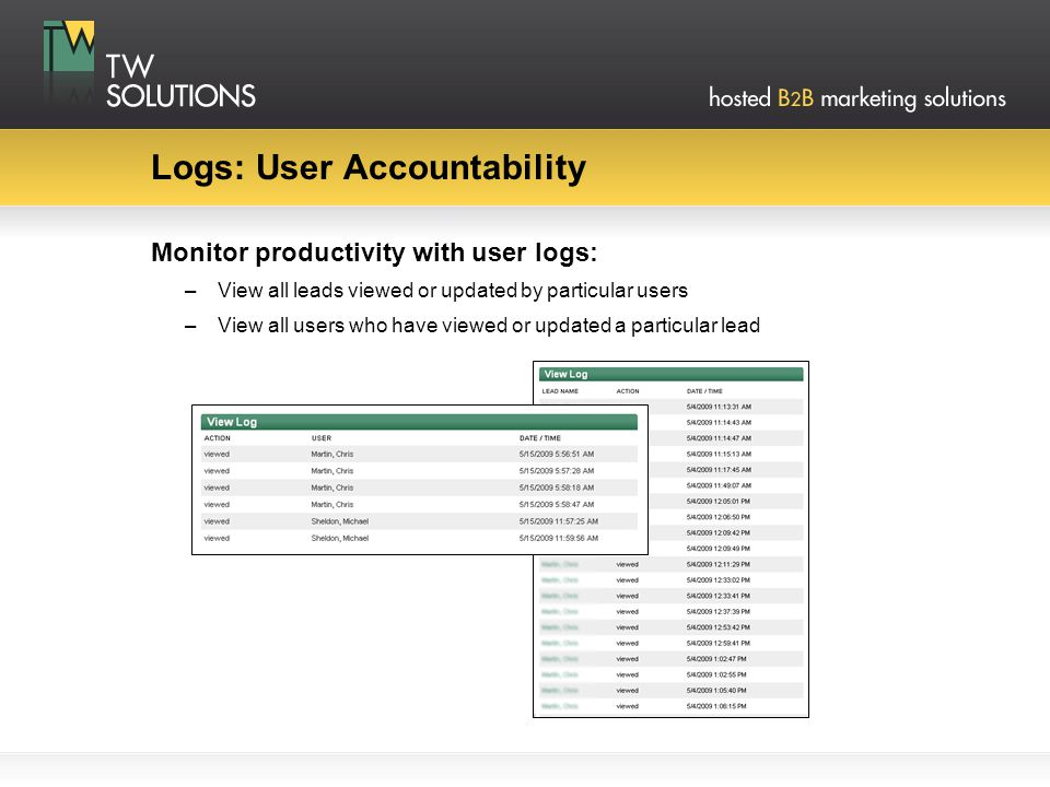 Logs: User Accountability Monitor productivity with user logs: –View all leads viewed or updated by particular users –View all users who have viewed o