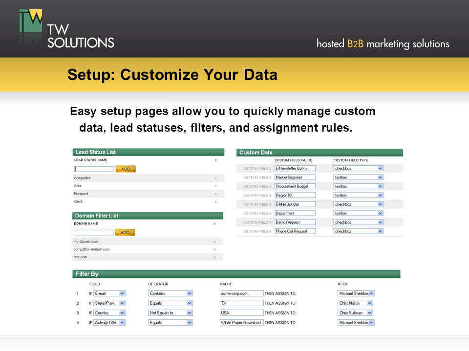 Setup: Customize Your Data Easy setup pages allow you to quickly manage custom data, lead statuses, filters, and assignment rules.