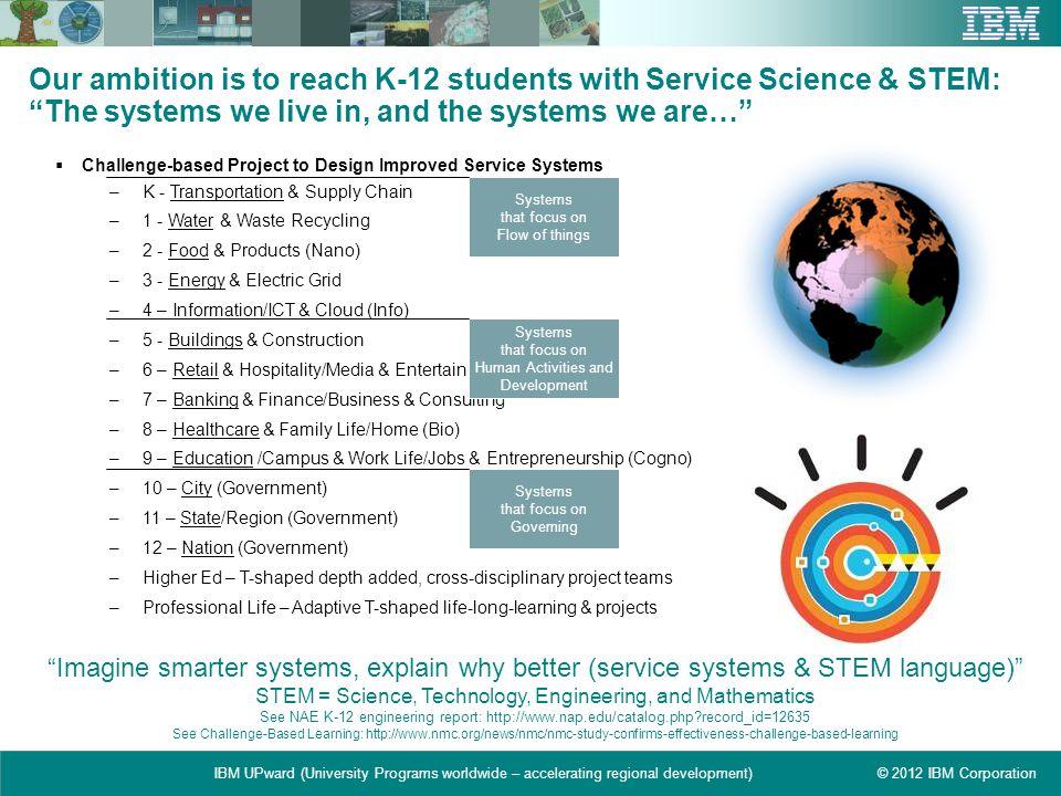 © 2012 IBM CorporationIBM UPward (University Programs worldwide – accelerating regional development) Our ambition is to reach K-12 students with Servi