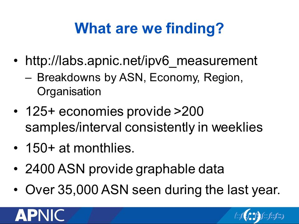 What are we finding? http://labs.apnic.net/ipv6_measurement –Breakdowns by ASN, Economy, Region, Organisation 125+ economies provide >200 samples/inte