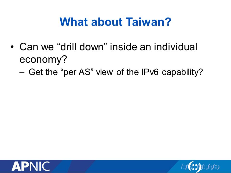 Can we drill down inside an individual economy –Get the per AS view of the IPv6 capability