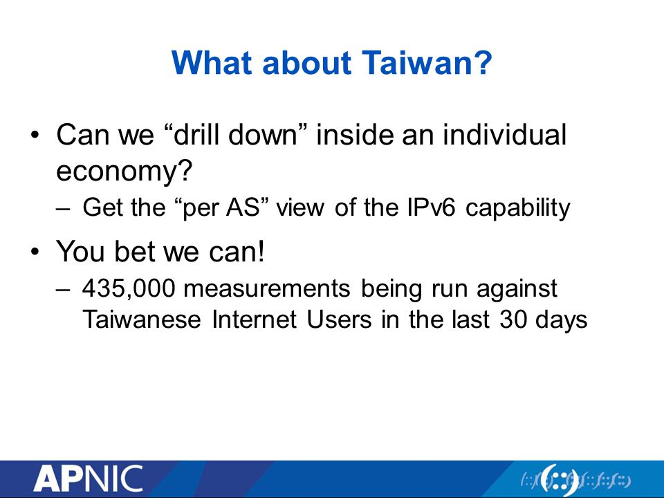 What about Taiwan.Can we drill down inside an individual economy.