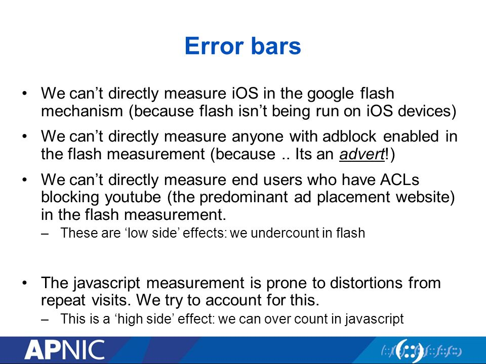 Error bars We can't directly measure iOS in the google flash mechanism (because flash isn't being run on iOS devices) We can't directly measure anyone