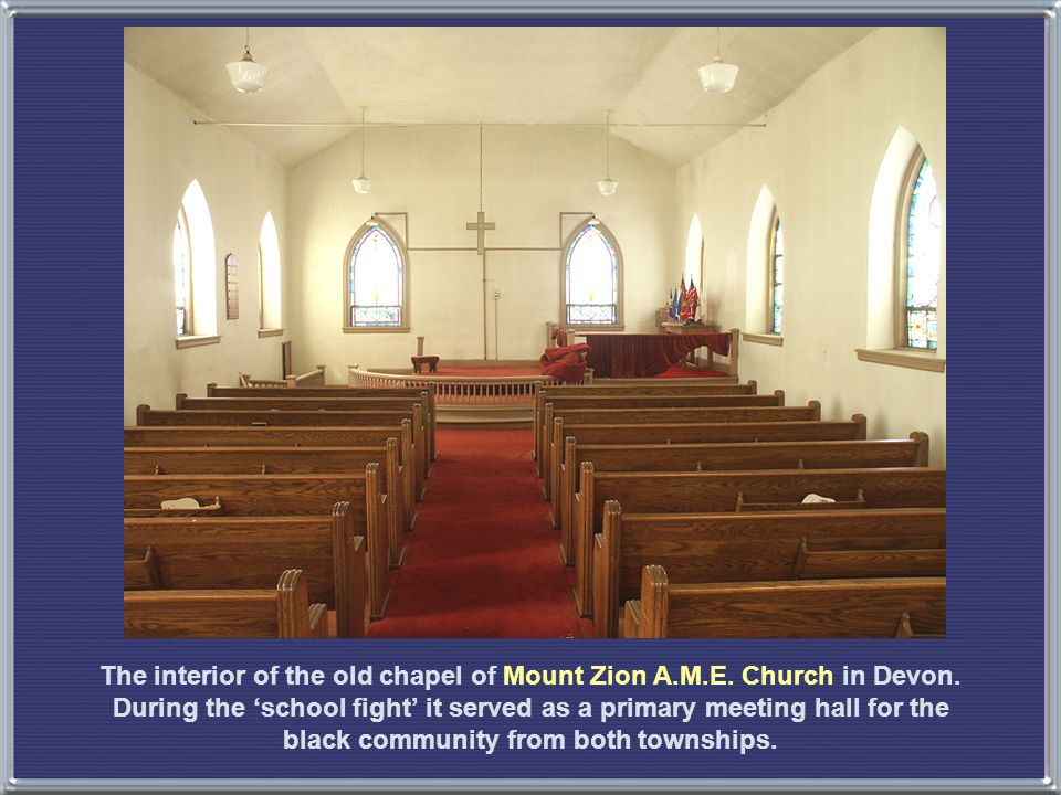 The interior of the old chapel of Mount Zion A.M.E.