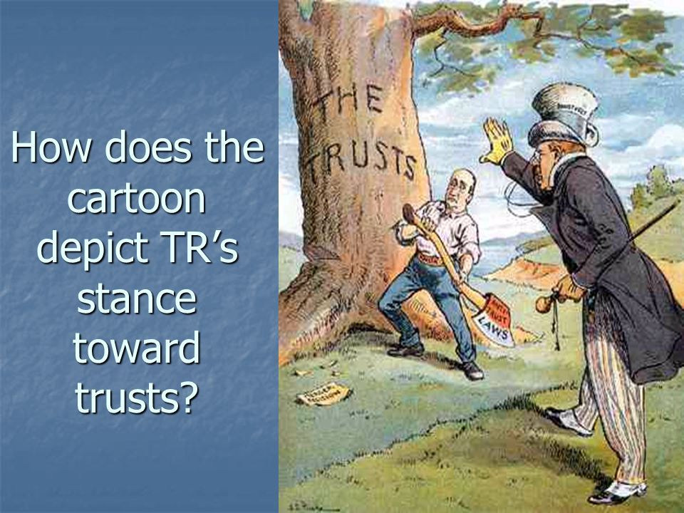 How does the cartoon depict TR's stance toward trusts