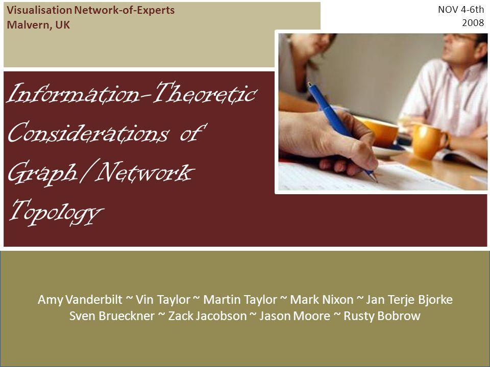 Visualisation Network-of-Experts Malvern, UK NOV 4-6th 2008 Amy Vanderbilt ~ Vin Taylor ~ Martin Taylor ~ Mark Nixon ~ Jan Terje Bjorke Sven Brueckner ~ Zack Jacobson ~ Jason Moore ~ Rusty Bobrow Information-Theoretic Considerations of Graph/Network Topology