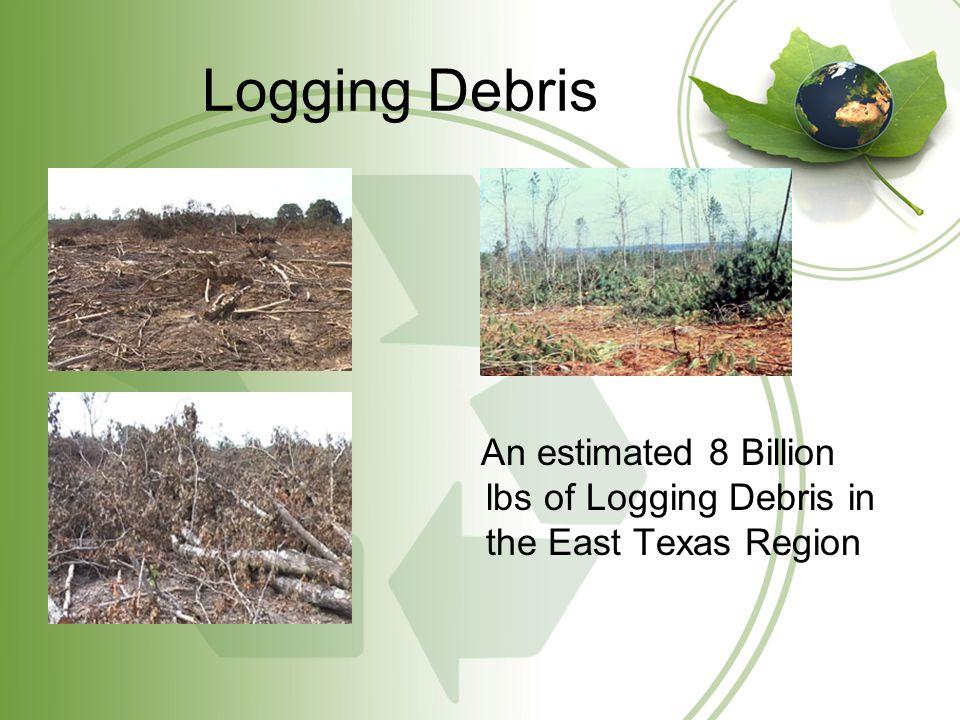 Logging Debris Cont'd Utilizing logging debris for Bio-energy reduces the need for expensive site preparation Provides additional income to the forest landowner Clearing logging debris speeds reforestation growth