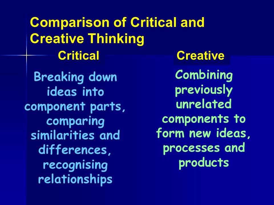 CriticalCreative Breaking down ideas into component parts, comparing similarities and differences, recognising relationships Combining previously unre
