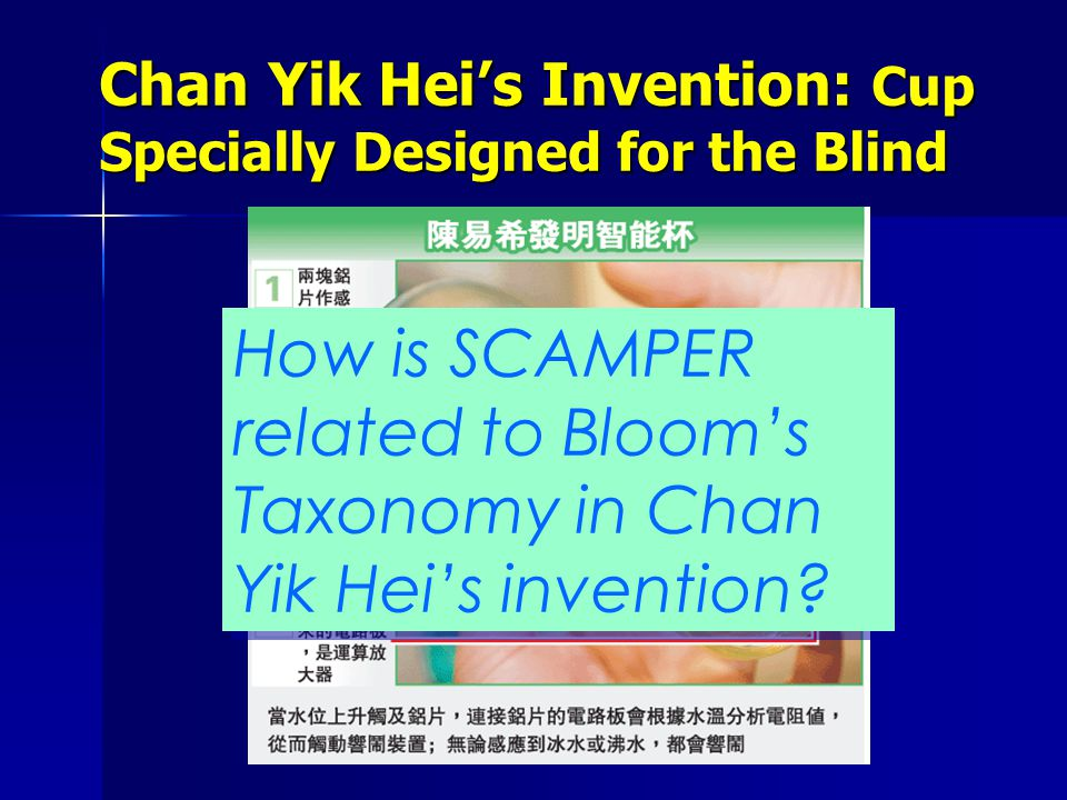 How is SCAMPER related to Bloom's Taxonomy in Chan Yik Hei's invention
