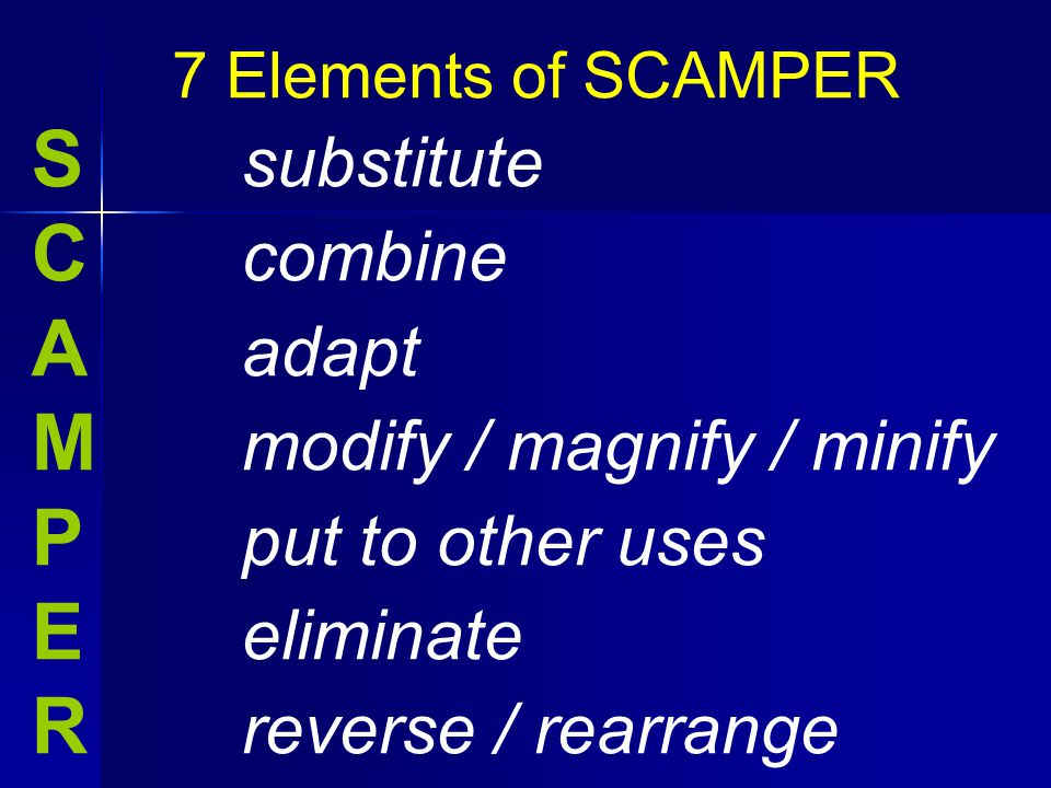 S substitute C combine A adapt M modify / magnify / minify P put to other uses E eliminate R reverse / rearrange 7 Elements of SCAMPER