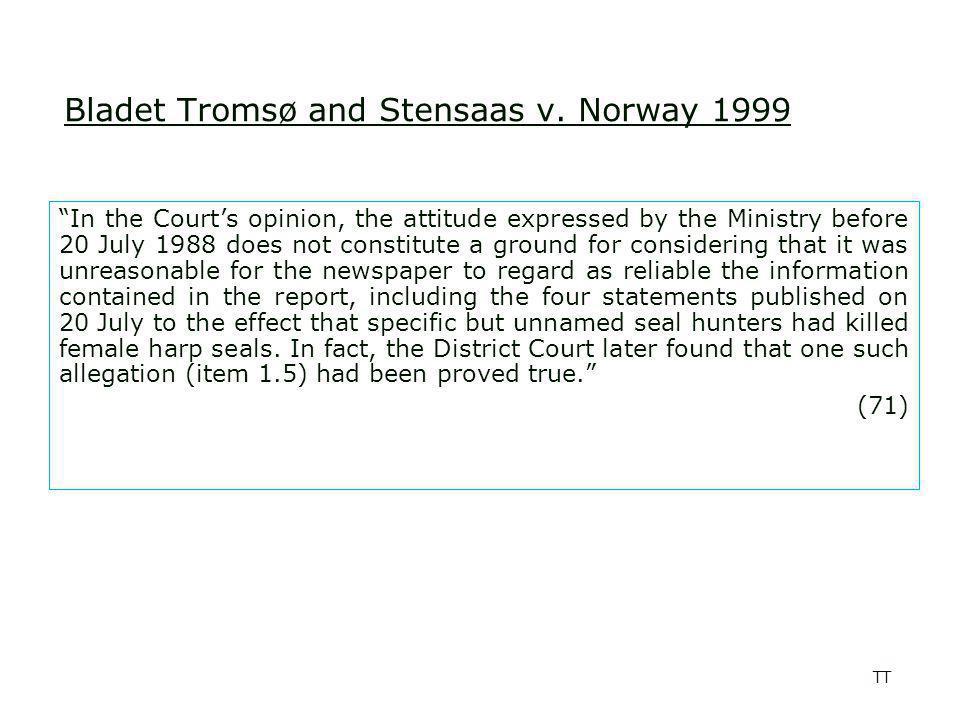 TT Bladet Tromsø and Stensaas v.