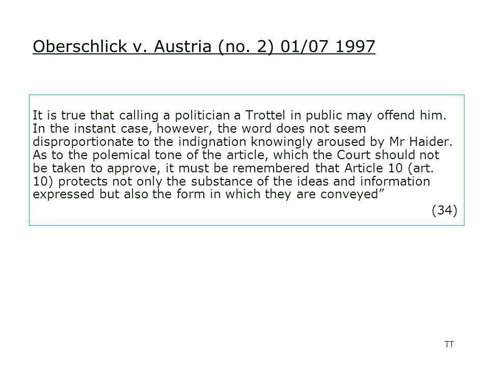 TT Oberschlick v. Austria (no.