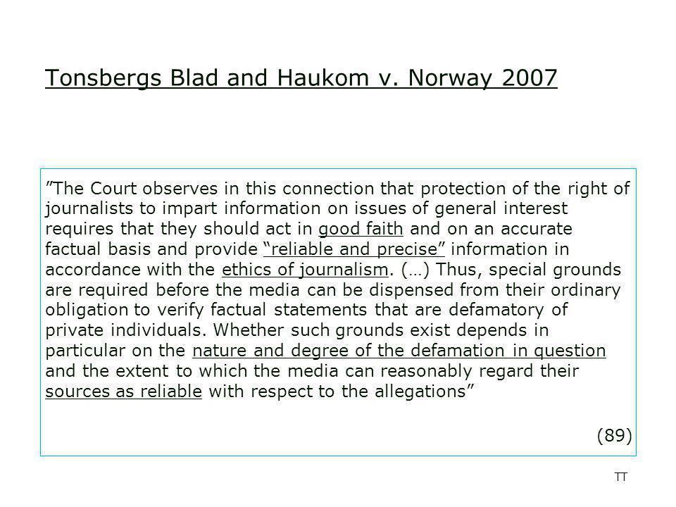 TT Tonsbergs Blad and Haukom v.