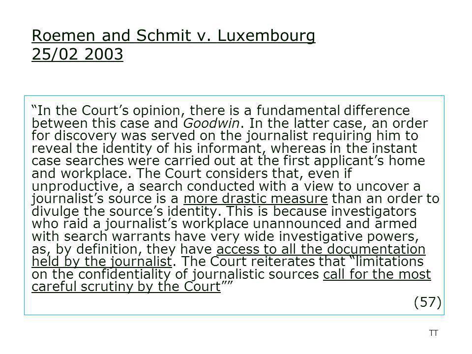 TT Roemen and Schmit v.