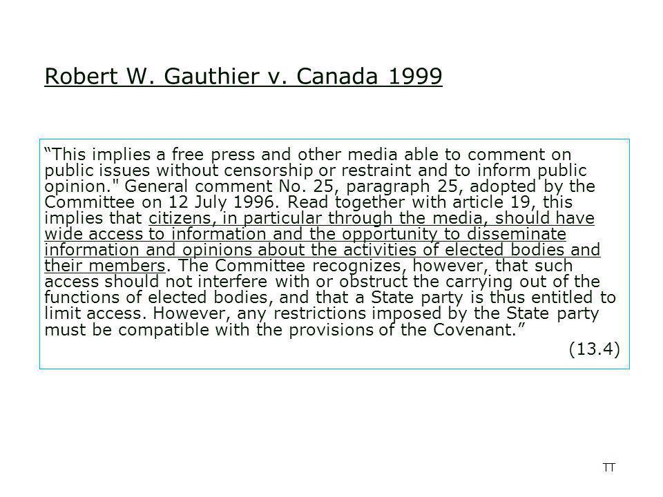 TT Robert W. Gauthier v.
