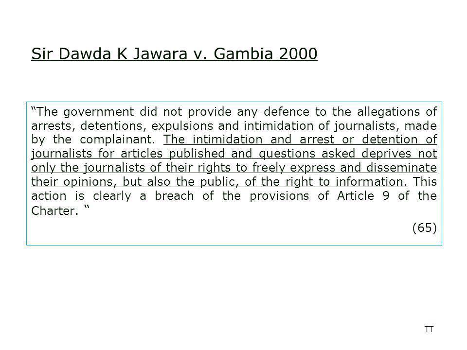 TT Media Rights Agenda and Others v.