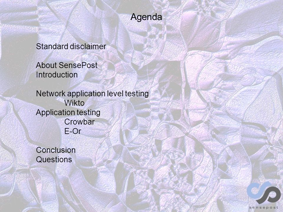 Agenda Standard disclaimer About SensePost Introduction Network application level testing Wikto Application testing Crowbar E-Or Conclusion Questions