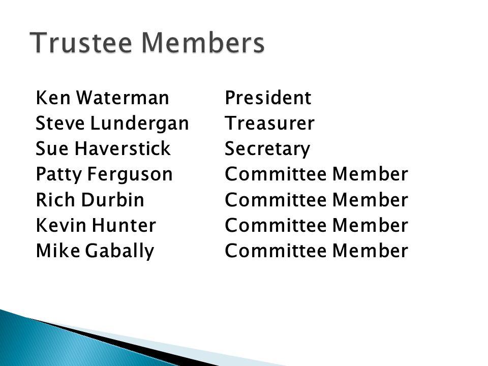 Ken Waterman President Steve LunderganTreasurer Sue HaverstickSecretary Patty FergusonCommittee Member Rich DurbinCommittee Member Kevin HunterCommitt