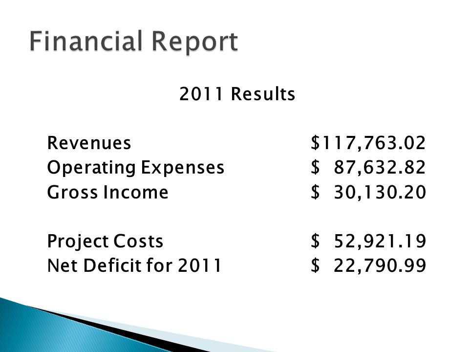 2011 Results Revenues $117,763.02 Operating Expenses$ 87,632.82 Gross Income$ 30,130.20 Project Costs$ 52,921.19 Net Deficit for 2011 $ 22,790.99