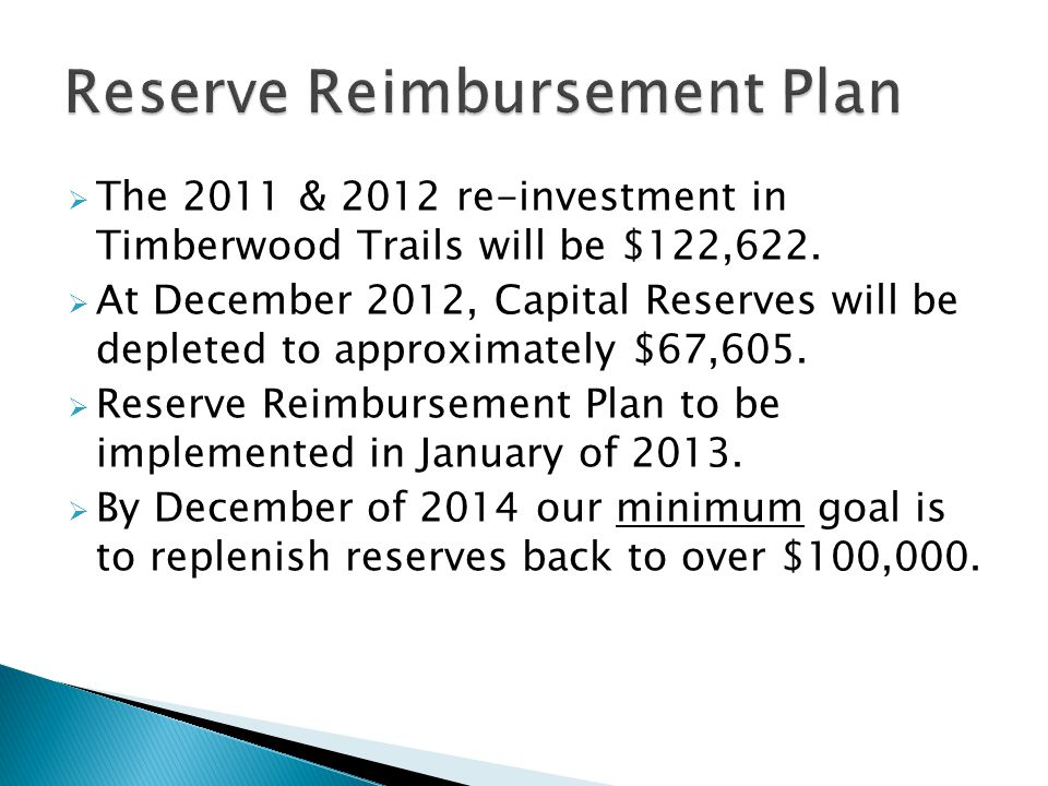  The 2011 & 2012 re-investment in Timberwood Trails will be $122,622.