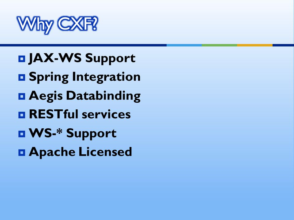  JAX-WS Support  Spring Integration  Aegis Databinding  RESTful services  WS-* Support  Apache Licensed