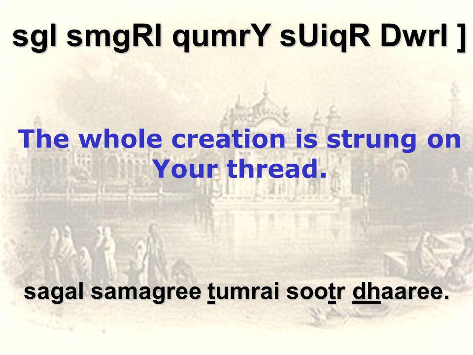 sagal samagree tumrai sootr dhaaree.