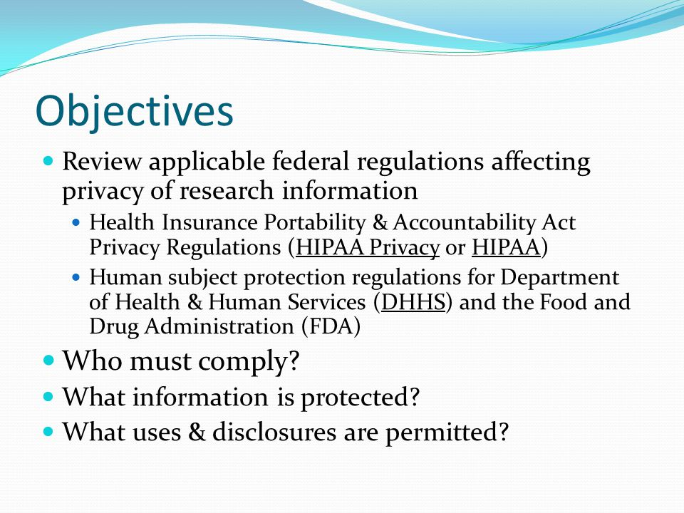 Partial waivers of Authorization & alterations to Authorization approved by IRB Recruitment may require access to PHI but no patient contact Phone eligibility screens where no written authorization possible Can waive authorization for these initial research processes and then subjects consented later No provisions for waiving documentation only