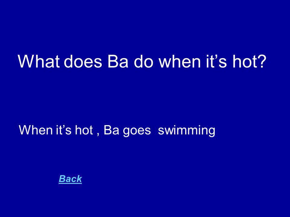 What does Ba do when it's hot When it's hot, Ba goes swimming Back