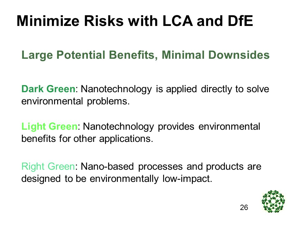 Minimize Risks with LCA and DfE Dark Green: Nanotechnology is applied directly to solve environmental problems.