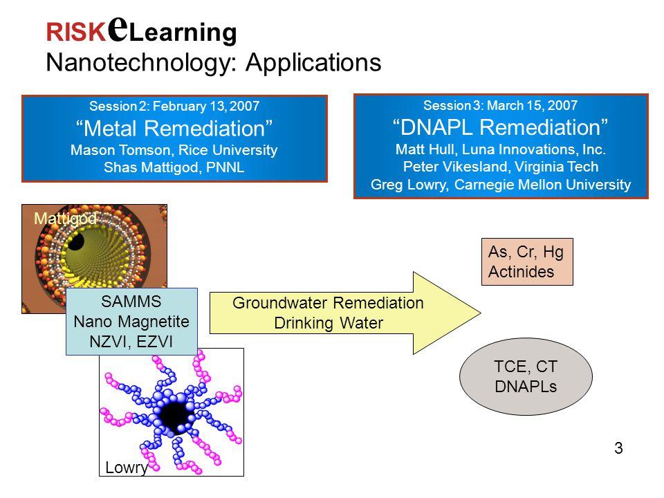 "Session 2: February 13, 2007 ""Metal Remediation"" Mason Tomson, Rice University Shas Mattigod, PNNL Nanotechnology: Applications RISK e Learning Sessio"