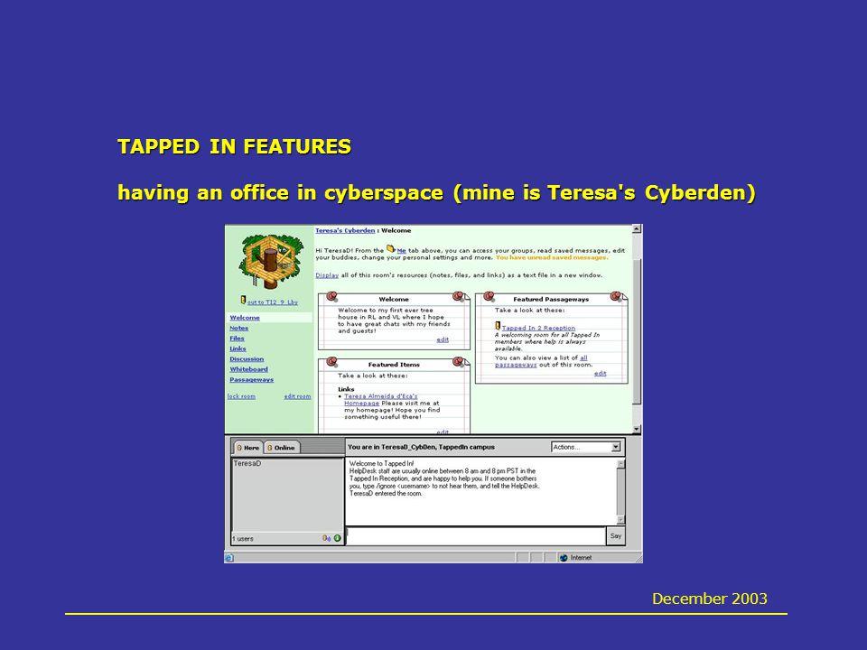 TAPPED IN FEATURES having an office in cyberspace (mine is Teresa s Cyberden) December 2003