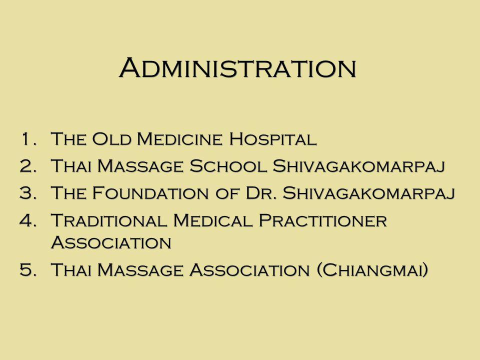Administration 1. The Old Medicine Hospital 2. Thai Massage School Shivagakomarpaj 3.