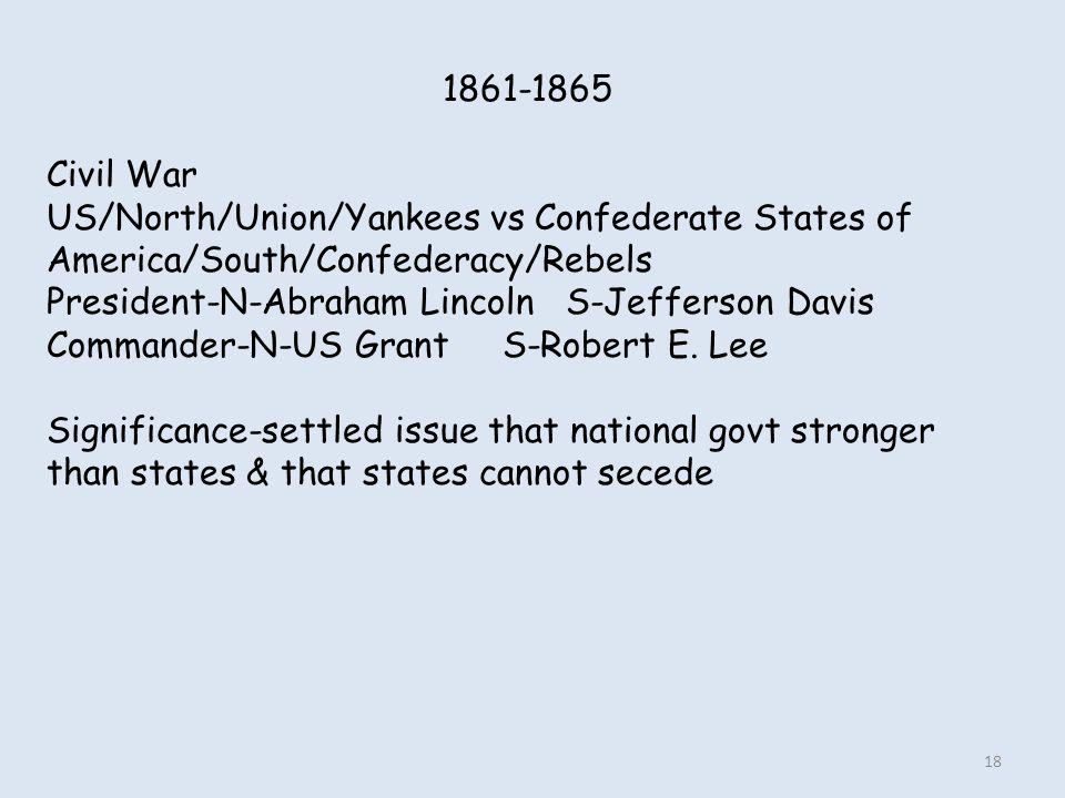 1861-1865 Civil War US/North/Union/Yankees vs Confederate States of America/South/Confederacy/Rebels President-N-Abraham Lincoln S-Jefferson Davis Com