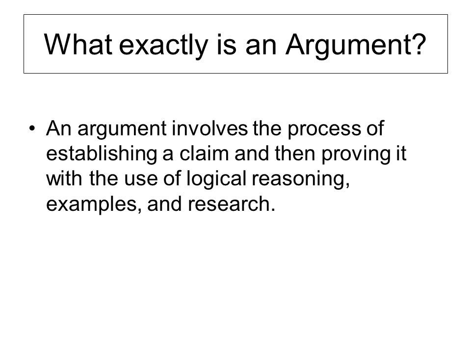 The Essential Ingredients of an Argument An issue open to debate Your position on the issue Your reasons for that position Evidence to support your reason –Experience, expert opinion, research and statistics