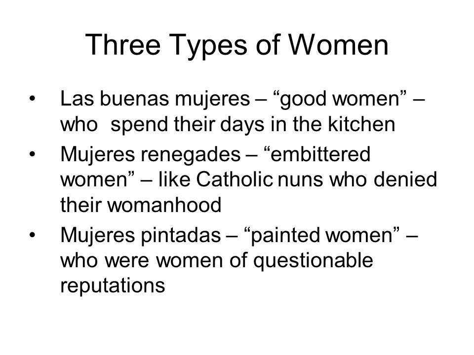 Three Types of Women Las buenas mujeres – good women – who spend their days in the kitchen Mujeres renegades – embittered women – like Catholic nuns who denied their womanhood Mujeres pintadas – painted women – who were women of questionable reputations