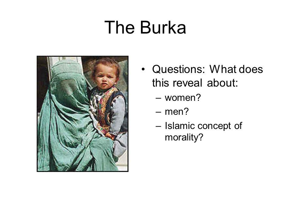 The Burka Questions: What does this reveal about: –women –men –Islamic concept of morality