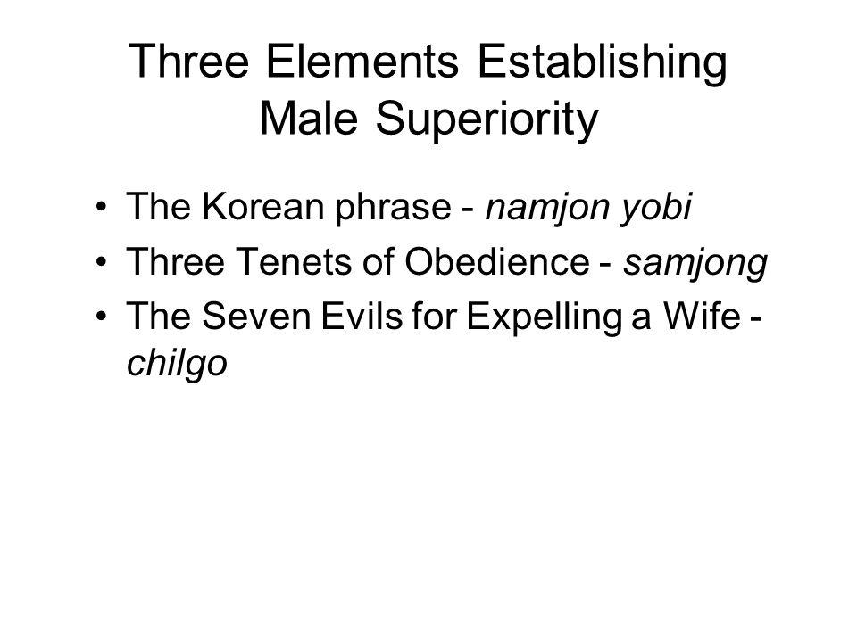 Three Elements Establishing Male Superiority The Korean phrase - namjon yobi Three Tenets of Obedience - samjong The Seven Evils for Expelling a Wife - chilgo