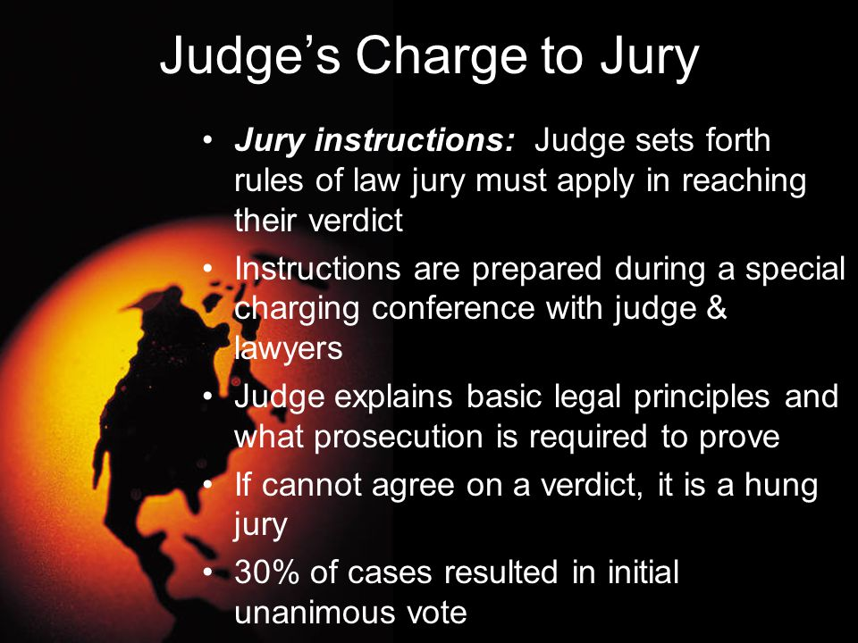 Judge's Charge to Jury Jury instructions: Judge sets forth rules of law jury must apply in reaching their verdict Instructions are prepared during a s
