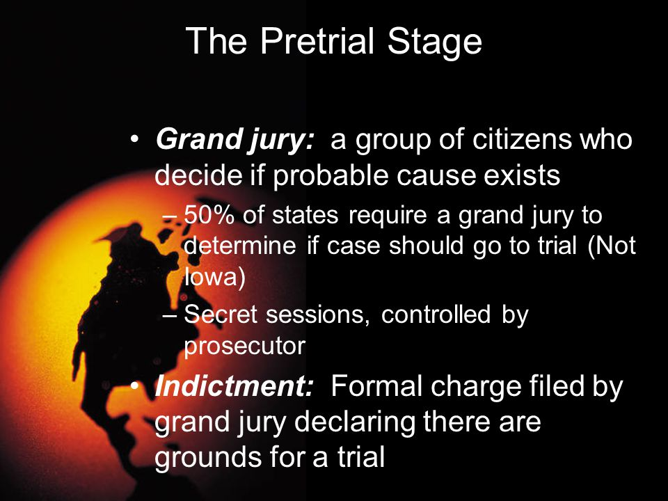 Pretrial Stage Information: Filed by prosecutor as a formal charge--- replaces police complaint (not approved by grand jury) Discovery: Process whereby the prosecutor and defense counsel may review the evidence the other party has