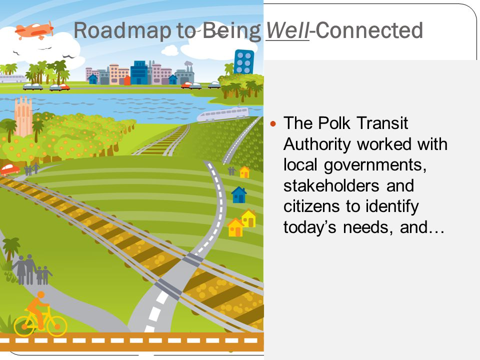 Roadmap to Being Well-Connected The Polk Transit Authority worked with local governments, stakeholders and citizens to identify today's needs, and…