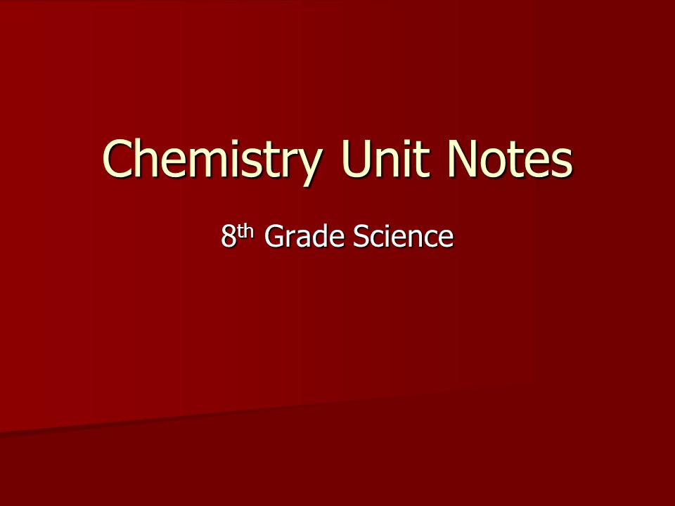 Chemistry Unit Notes 8 th Grade Science