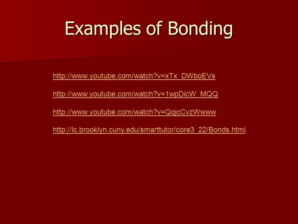 Examples of Bonding http://www.youtube.com/watch?v=xTx_DWboEVs http://www.youtube.com/watch?v=1wpDicW_MQQ http://www.youtube.com/watch?v=QqjcCvzWwww http://lc.brooklyn.cuny.edu/smarttutor/core3_22/Bonds.html